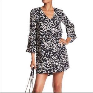 Charles Henry Leopard-Print Bell-Sleeve Mini Dress